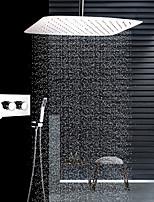 abordables -Moderne Montage au plafond Douche pluie Douchette inclue Soupape céramique Trois poignées trois trous Acier inoxydable, Robinet de douche