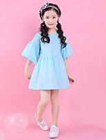 cheap -Girl's Daily Going out Solid Jacquard DressCotton Summer  Length Sleeve Simple Cute Active Purple Blue