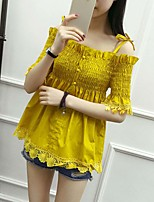 cheap -Women's Casual/Daily Active Spring/Fall Summer Shirt,Solid Boat Neck Half Sleeves Cotton Thin