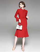 economico -Per donna Feste Sensuale Fodero Maxi Medio Vestito,Colletto alla coreana Tinta unita Manica lunga
