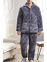 abordables -Costumes Pyjamas Homme,Couleur Pleine Epais Polyester Gris