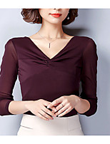 cheap -Women's Going out Casual Fall T-shirt,Solid V Neck Long Sleeve Cotton Opaque