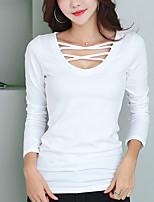 preiswerte -Damen Solide Freizeit Alltag T-shirt,Rundhalsausschnitt Langärmelige Baumwolle Andere