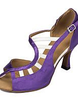 economico -Balli latino-americani Finta pelle Sneaker Intagli A stiletto Nero Viola Mandorla Nero/Rosso Personalizzabile