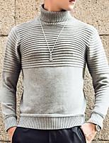 Недорогие -Муж. Сплошной цвет На каждый день Вязаная ткань Пуловер,Повседневные Длинные рукава Хомут Зима Осень