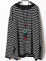 cheap -Women's Daily Casual Spring T-shirt,Striped Round Neck Long Sleeve Polyester