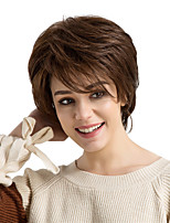 cheap -Human Hair Capless Wigs Human Hair Straight Layered Haircut With Bangs Side Part Short Machine Made Wig Women's