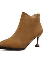 Недорогие -Для женщин Обувь Нубук Весна Осень Модная обувь Удобная обувь Ботинки Высокий каблук Ботинки для Повседневные Черный Коричневый Хаки