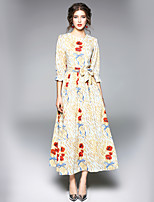 cheap -SHE IN SUN Women's Going out Work Casual Street chic A Line Dress,Floral Round Neck Maxi 3/4 Sleeve Fall Mid Waist Inelastic Opaque