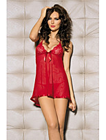 cheap -Women's Ultra Sexy Nightwear,V-neck Jacquard-Translucent Nylon Red Black