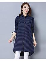 cheap -Women's Daily Casual Fall Shirt,Striped Shirt Collar Long Sleeve Cotton Thin
