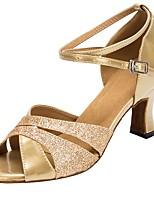cheap -Women's Latin Faux Leather Glitter Sandal Heel Professional Customized Heel Gold / Customizable