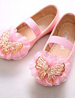 cheap -Girls' Shoes PU Spring Fall Flower Girl Shoes Novelty Flats Bowknot Beading Gore for Party & Evening Dress White Pink