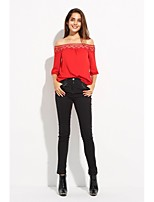 cheap -Women's Polyester Blouse - Solid Boat Neck