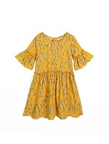 cheap -Girl's Floral Dress Summer Cute Yellow