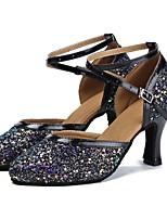 "cheap -Women's Modern Paillette Faux Leather Sandal Heel Performance Bows Customized Heel Black 4"" & Up Customizable"