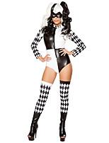Недорогие -Клоун Косплэй Kостюмы Жен. Хэллоуин Фестиваль / праздник Костюмы на Хэллоуин Черный В клетку