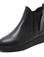 abordables -Femme Chaussures PU de microfibre synthétique Hiver Automne Botillons Confort Bottes Talon Bottier pour Décontracté Noir