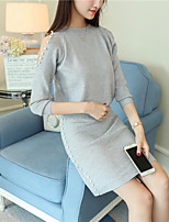 cheap -Women's Casual/Daily Simple Winter Fall T-Shirt Skirt Suits,Solid Round Neck Long Sleeve Polyester