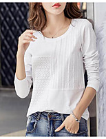 cheap -Women's Daily Casual Spring Fall T-shirt,Solid Round Neck Long Sleeve Polyester