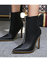 cheap -Women's Shoes PU Spring Fall Comfort Fashion Boots Boots Stiletto Heel Booties/Ankle Boots for Casual Black