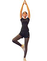 preiswerte -Damen Active Set Kurzarm Rasche Trocknung Windundurchlässig tragbar Atmungsaktivität Trainingsanzug für Laufen Drinnen Elasthan
