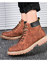 cheap -Men's Shoes Cowhide Nappa Leather Winter Fall Combat Boots Comfort Boots Booties/Ankle Boots for Casual Black Coffee Dark Brown