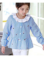 cheap -Girls' Solid Striped Shirt,Polyester Spring Summer Long Sleeve Blue