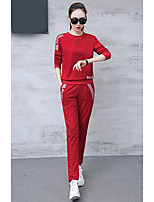 cheap -Women's Daily Sports Casual Fall T-Shirt Pant Suits,Print Round Neck Long Sleeve Pure Color Cotton Polyester Micro-elastic