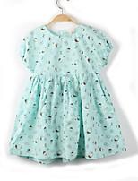 cheap -Girl's Daily Print Dress,Cotton Summer Short Sleeves Simple Green