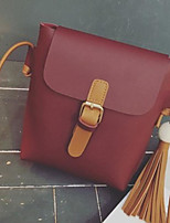 cheap -Women Bags PU Shoulder Bag Buttons Tassel for Casual All Season Brown Gray Red Black