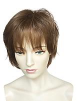 abordables -Mujer Pelucas sintéticas Corto Rizado Castaño dorado Entradas Naturales Corte a capas Peluca de celebridades Peluca natural Pelucas para