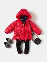Недорогие -Девочки На пуховой / хлопковой подкладке Повседневные Полиэстер Однотонный Длинные рукава На каждый день Черный Красный