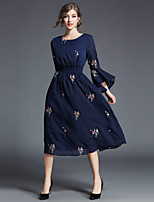 cheap -MAXLINDY Women's Party Going out Vintage Street chic Sheath Chiffon DressSolid Floral Round Neck Midi 3/4 Sleeve Polyester Winter Fall High Waist