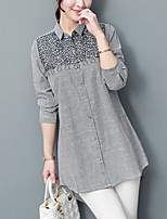 cheap -Women's Casual/Daily Vintage Shirt,Solid Shirt Collar Long Sleeves Polyester