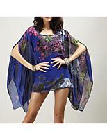 Недорогие -Для женщин Повседневные Весна Лето Блуза Круглый вырез,На каждый день Цветочный принт Полиэстер
