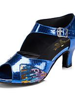 abordables -Latino Semicuero Zapatilla Recortado Tacón Stiletto Dorado Azul Personalizables