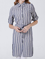 cheap -Women's Daily Casual Shirt,Striped Shirt Collar Long Sleeve Cotton