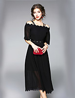 cheap -SHE IN SUN Women's Going out Work Casual Street chic A Line DressSolid Boat Neck Maxi Half Sleeve Polyester Fall Mid Rise Inelastic Opaque
