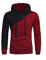 cheap -Men's Daily Casual Hoodie Color Block Hooded Inelastic Polyester Long Sleeve Spring