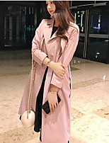 cheap -Women's Going out Sophisticated Fall Trench Coat,Solid Shirt Collar Long Sleeve Long Polyester Oversized
