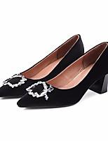 preiswerte -Damen Schuhe Samt Frühling Herbst Komfort High Heels Blockabsatz für Normal Schwarz Wein