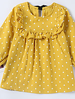 cheap -Girl's Daily Dot Dress Summer Long Sleeves Simple Yellow