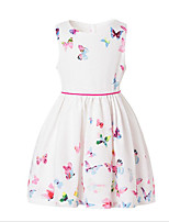 cheap -Girl's Print Dress,Cotton Polyester Spring, Fall, Winter, Summer Sleeveless Casual White
