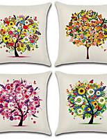 cheap -4 pcs Cotton/Linen Pillow Cover,Floral Botanical Bohemian Style
