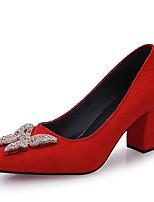 preiswerte -Damen Schuhe PU Frühling Komfort High Heels Block Ferse Quadratischer Zeh für Normal Schwarz Braun Rot