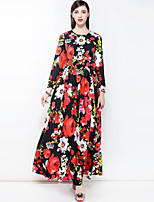 cheap -MARY YAN&YU Women's Party Cute Boho Swing Maxi Dress,Floral Basic Round Neck Long Sleeve Cotton Spring Summer