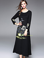 cheap -YHSP Women's Daily Going out Casual Street chic A Line Sheath Swing DressFloral Round Neck Midi 3/4 Sleeve Polyester Spring Mid Rise Inelastic