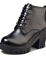 abordables -Mujer Zapatos PU Invierno Otoño Confort Botas hasta el Tobillo Botas Tacón Cuadrado para Casual Negro Marrón