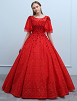 cheap -Ball Gown Scoop Neck Floor Length Lace Prom Formal Evening Dress with Beading Flower(s) by SG
